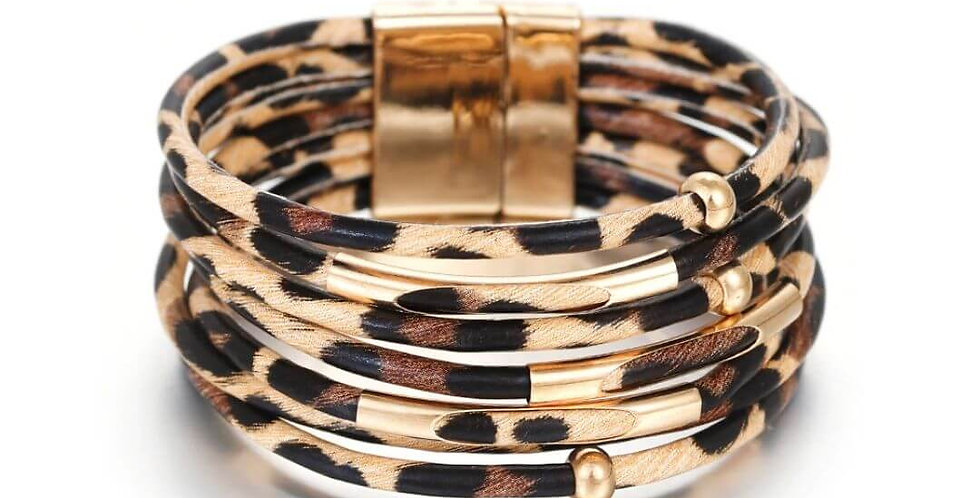 Leopard Leather Multi Layer Bracelet