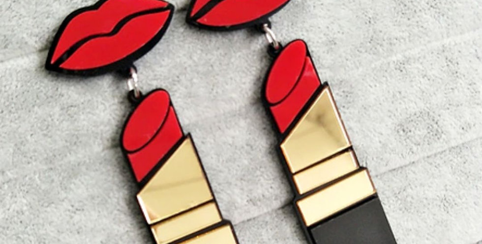 Acrylic Red Mouth Lips Drop Earrings