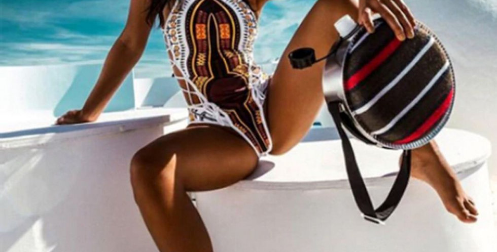 One Piece African Printed Swimsuit