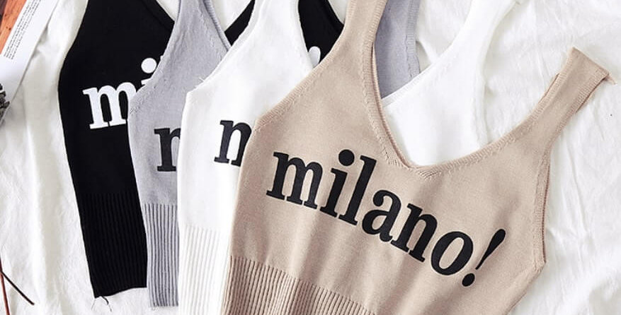Milano Fashion Lettering Crop Top