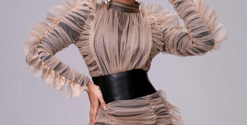 Luxury Runway Wrinkled Ruffled Dress