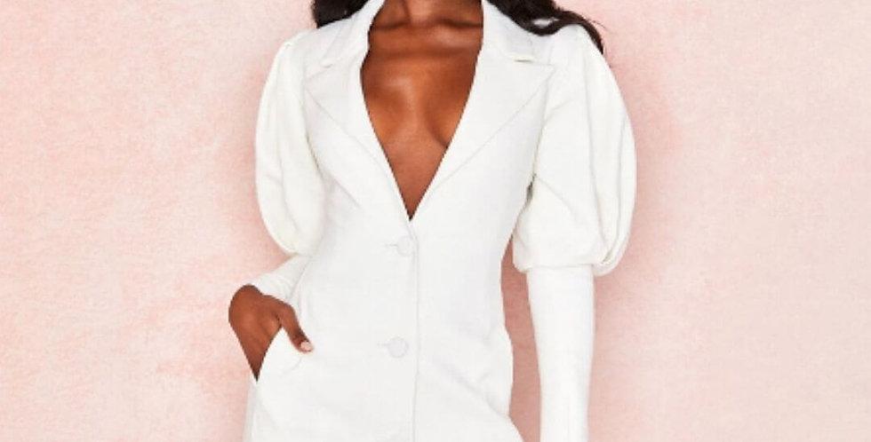 Elegant Puff Sleeve Slim White Blazer Dress