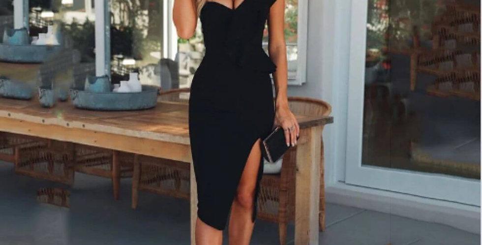 Celebrity One Shoulder Ruffles Dress