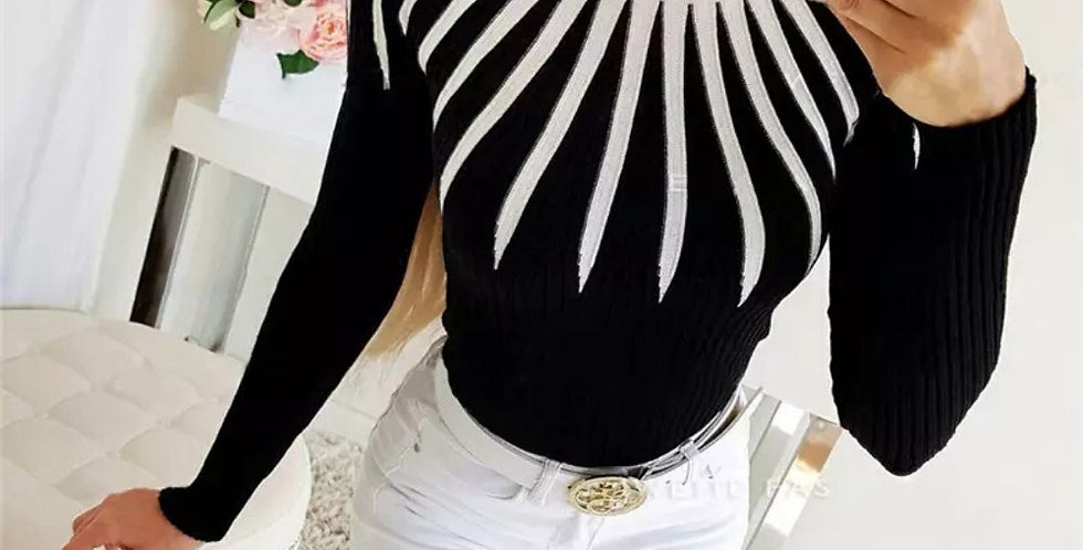 Knitted Turtleneck Patchwork Striped Sweater