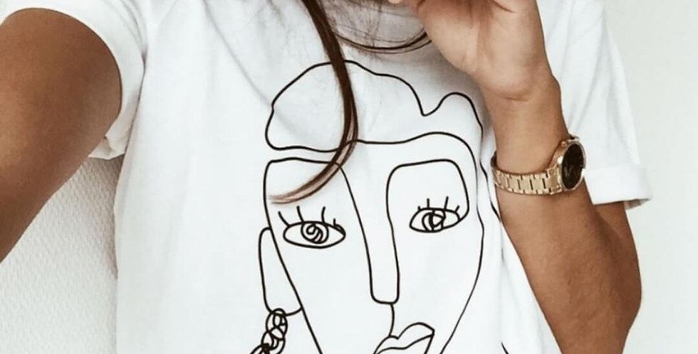 Funny Sketch Portrait Print T-Shirt