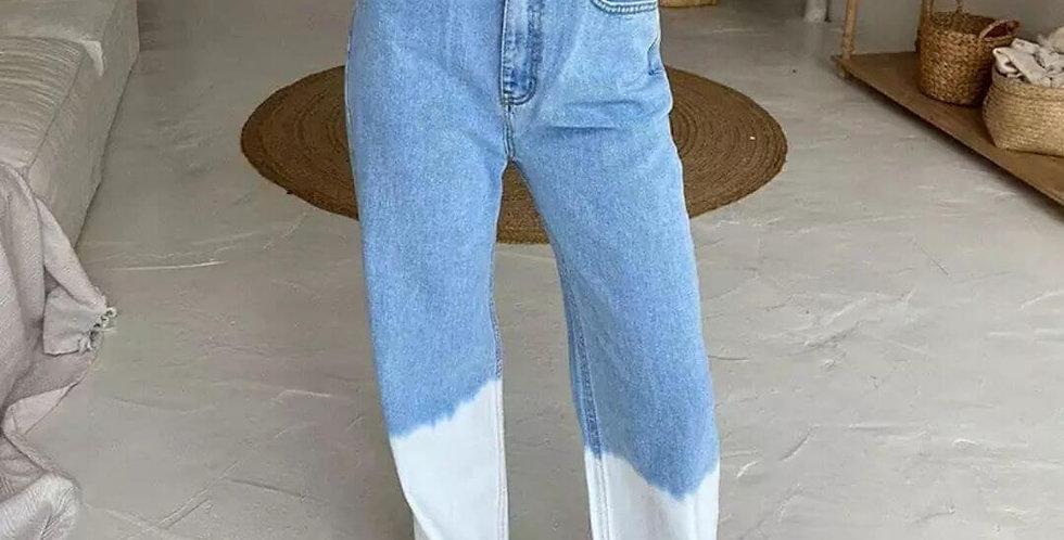 Tie Dye Stripe High Waist Jeans