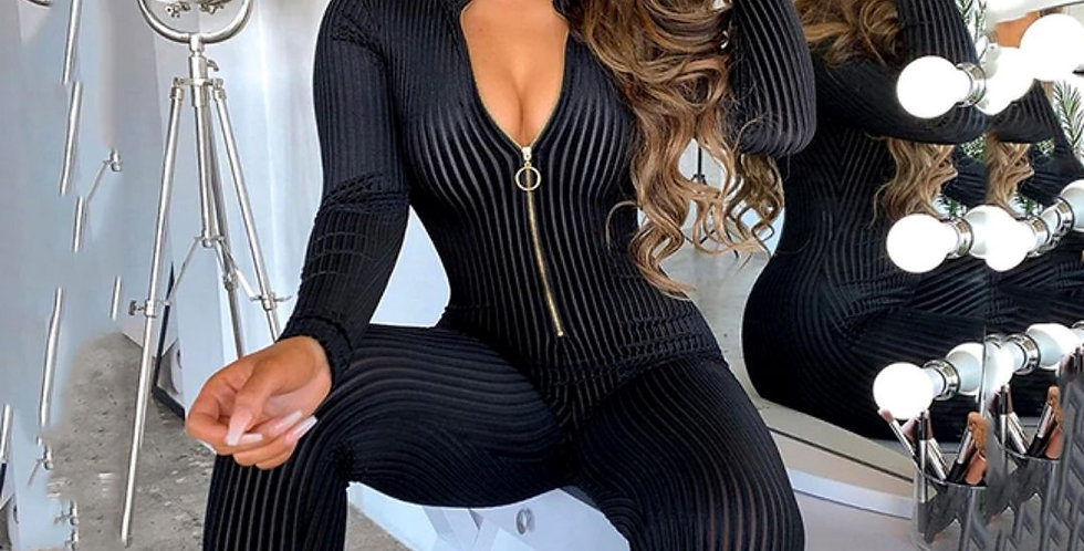 Ribbed Zipper Skinny Sexy Jumpsuit