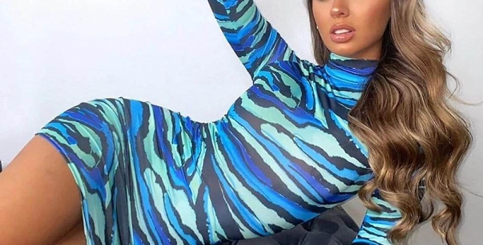 Stripe Tie Dye Printed Turtleneck Dress