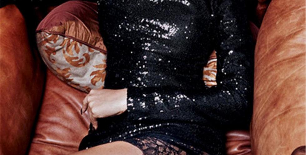 Black Sequin Turtleneck Lace Dress