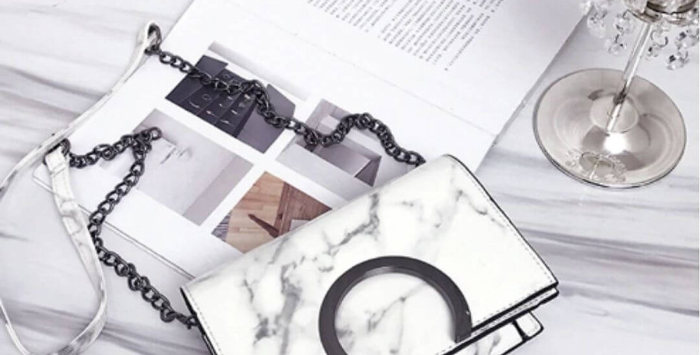 White Marble Chic PU Leather Bag