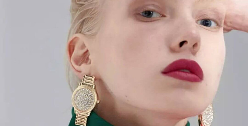 Luxury Crystal Watch Stud Earrings