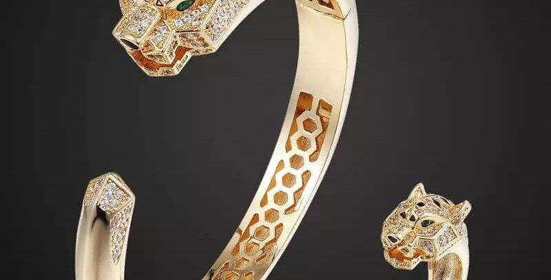 Tiger Animal Cubic Zircon Jewelry Set