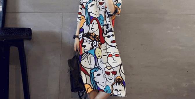 Cartoon Funny Print Shirt Dress