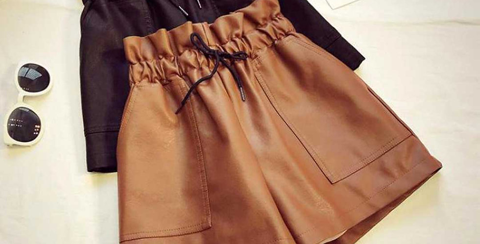 Leather High Waist Loose Wide Elastic Short