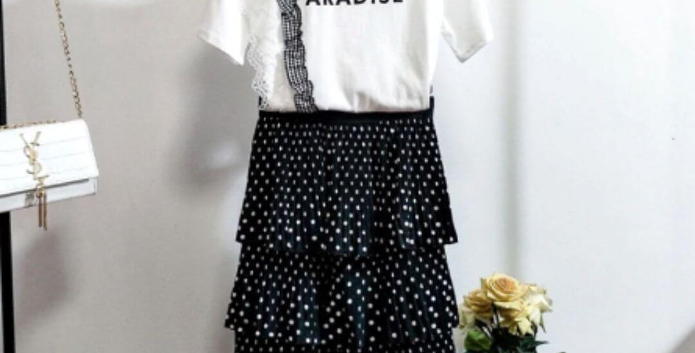 Runway Polka Dot Skirt 2 Pieces Set