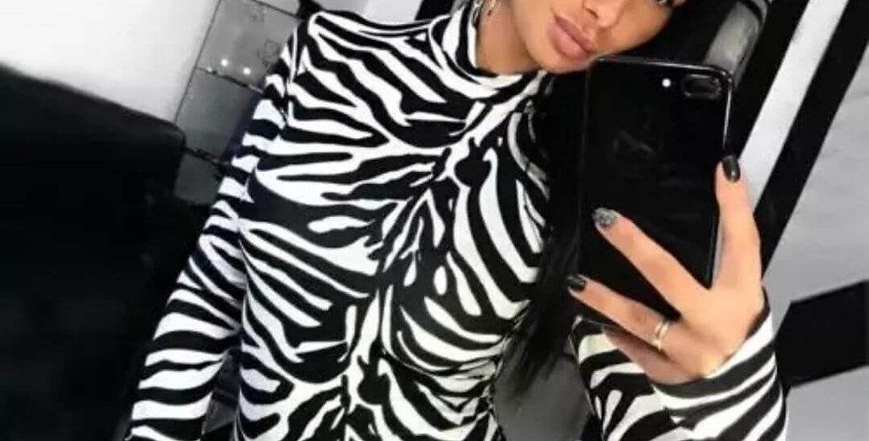 Striped Zebra Print Bodysuit
