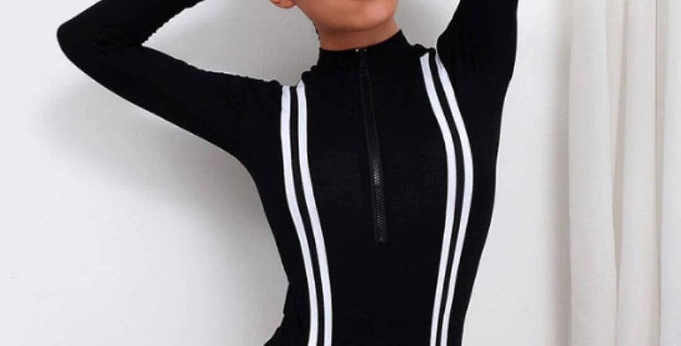Turtleneck Striped Bodysuit