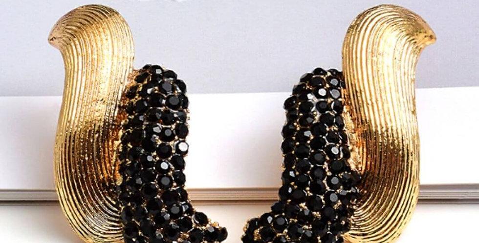 Gold Metal Rhinestone Dangle Drop Earrings