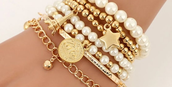 Pearl Star Multi-layer Beaded Bracelets Set