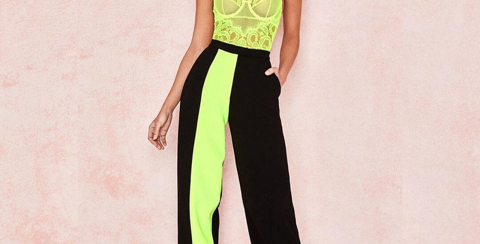 Neon Green High Waist Wide Leg Set