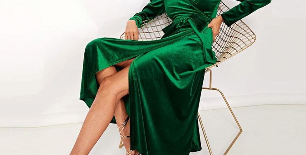 Puff Sleeve Tie Split Velvet Dress
