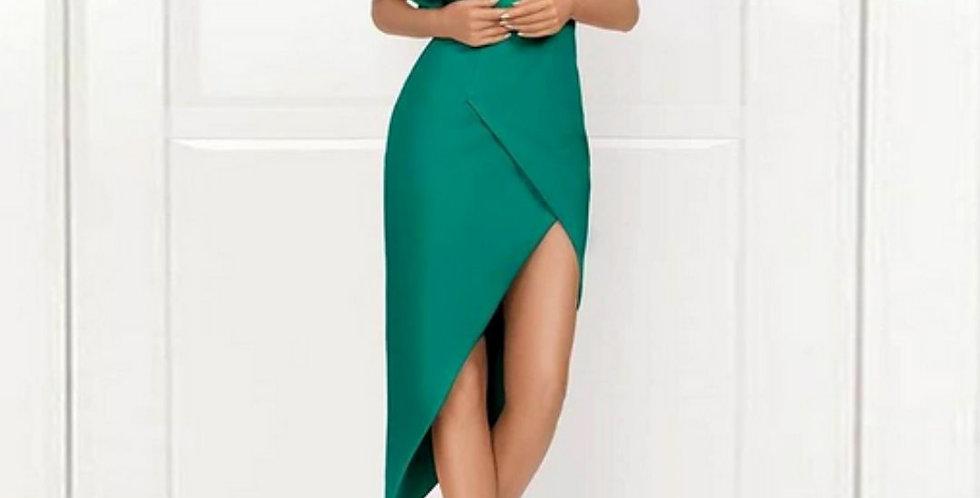 One Shoulder Ruffles Slit Dress