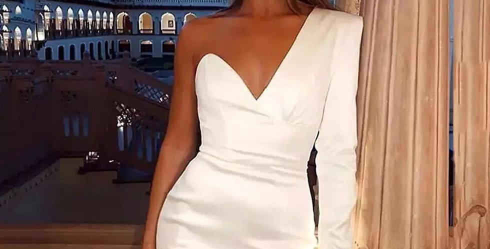 One Shoulder V-Backless Mini Dress
