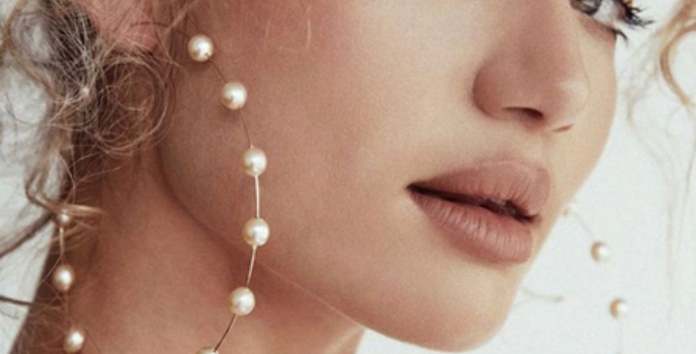 White Pearl Statement Earrings