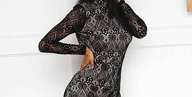 Black Turtleneck Lace Sexy Jumpsuit