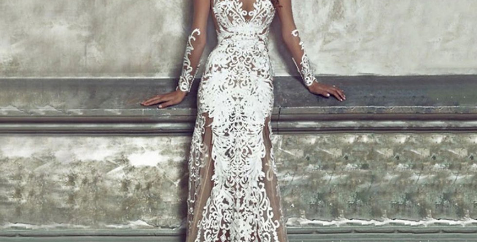 White Lace See-Through Maxi Dress