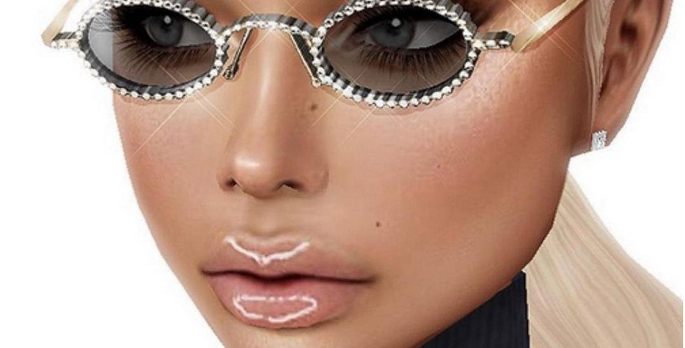 Luxury Rhinestone Round Sunglasses