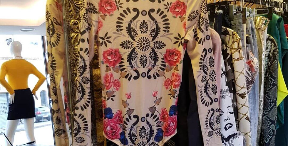 Floral Print Mesh Elegant Bodysuit