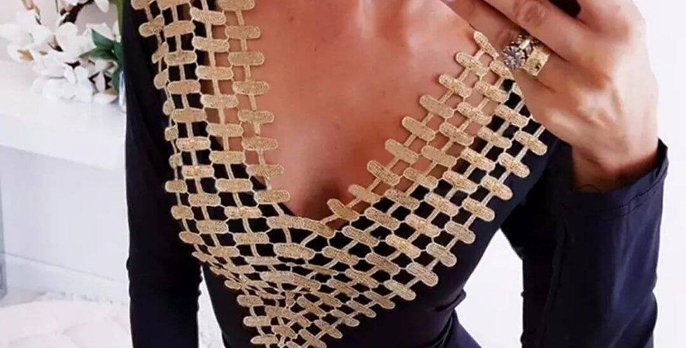 Stretchy Black & Gold Bodysuit