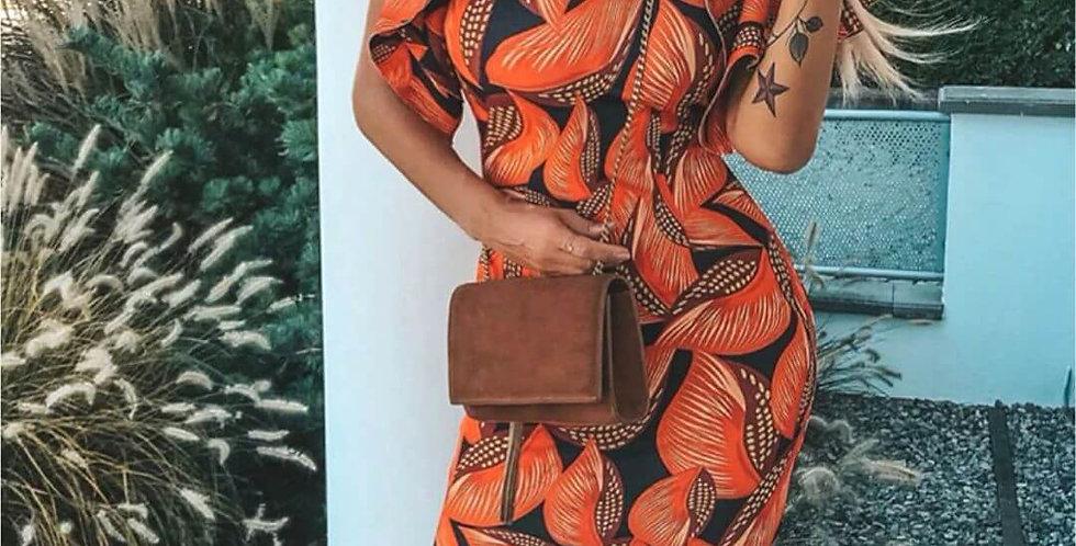 Ruffle Sleeve Leaf Print Dress