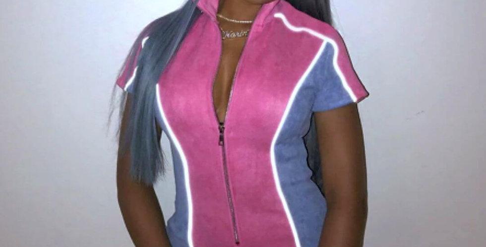 Reflective Stripe Patchwork Zipper Jumpsuit