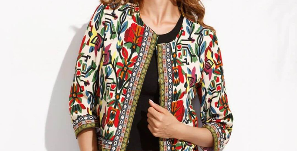 Embroidery Outerwear Tribal Print Jacket