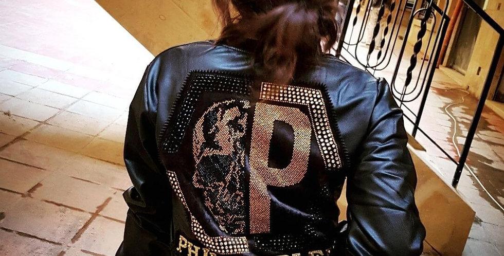 Elegant Brand Black & Gold Leather Jacket