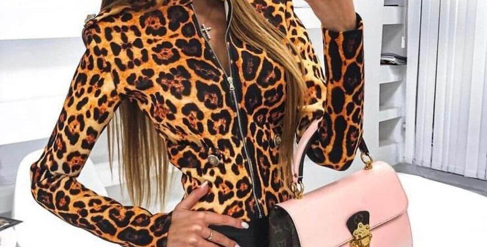 Elegant Leopard Zipper Top