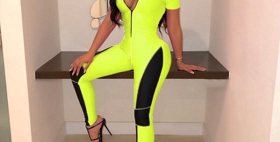 Fashion Short Sleeve Zipper Patchwork Jumpsuit
