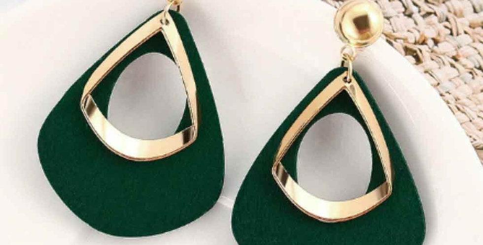 Geometric Wood Drop Earrings
