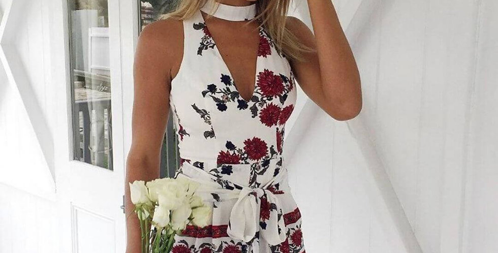 Hollow Out Red Floral Print Jumpsuit