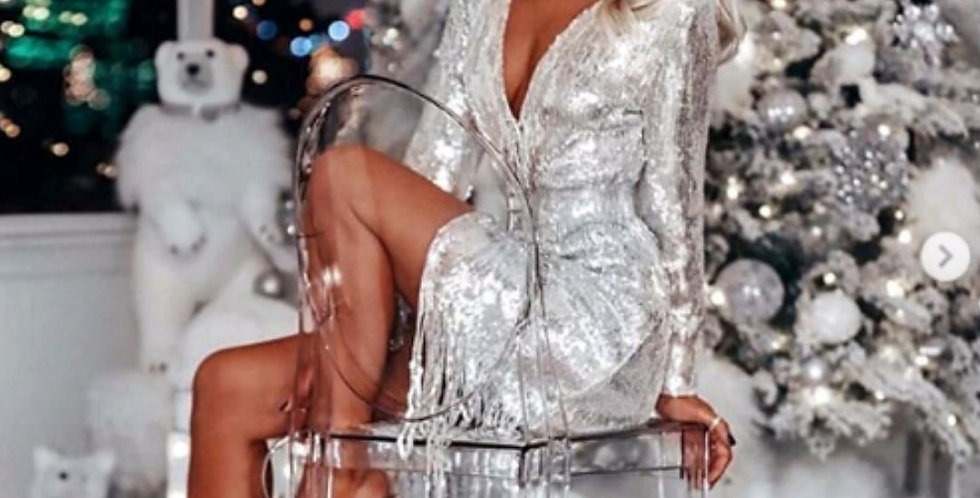 Sequin Elegant Silver Dress