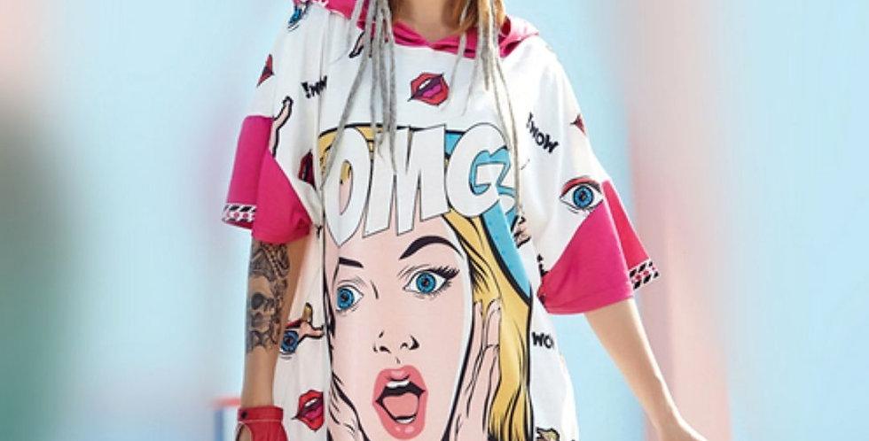 OMG Cartoon Hooded T-shirt/Dress