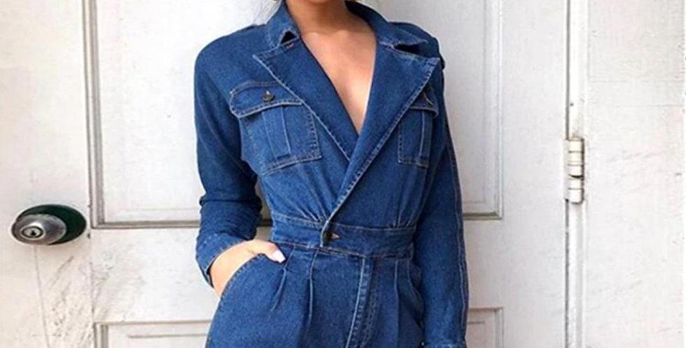 Slim Fit High Waist Jeans Jumpsuit
