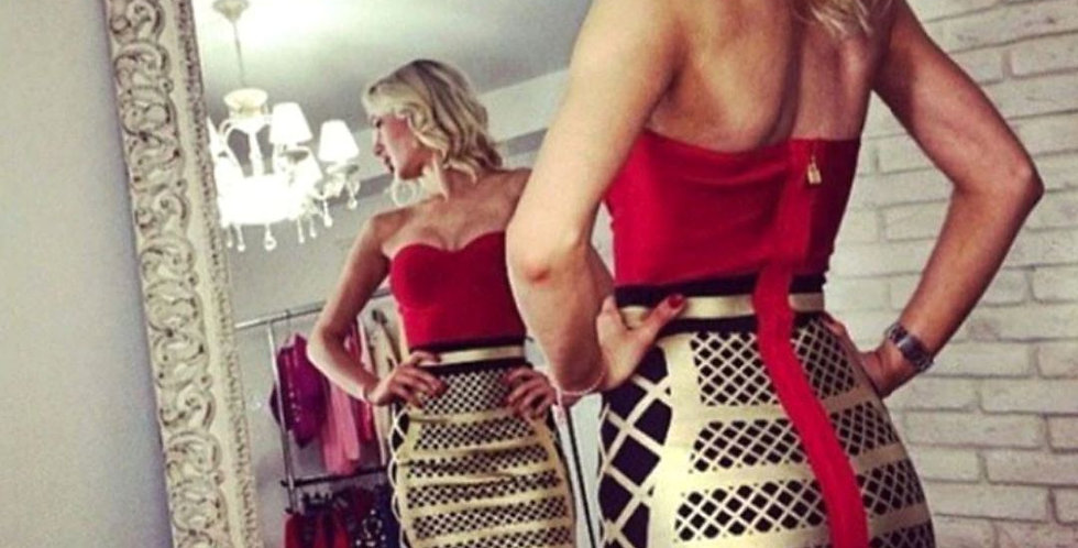 Patchwork Strapless Celebrity Dress