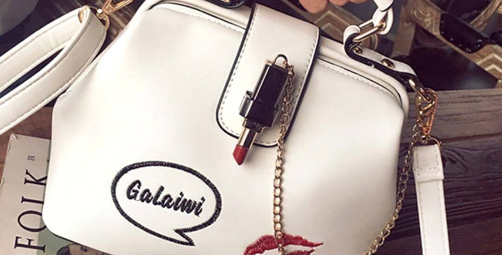 Embroidered Lipstick Designer Handbag