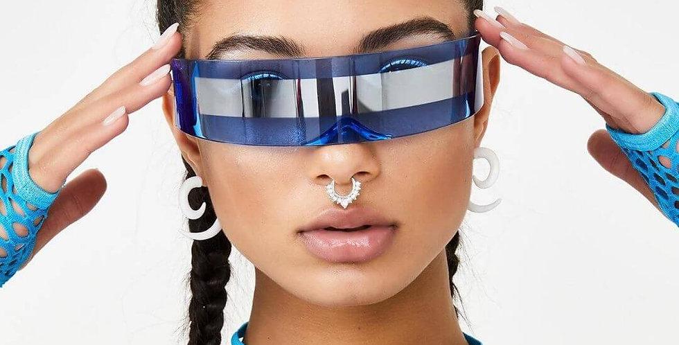 Futuristic Wrap Around Goggle Mirror Sunglasses