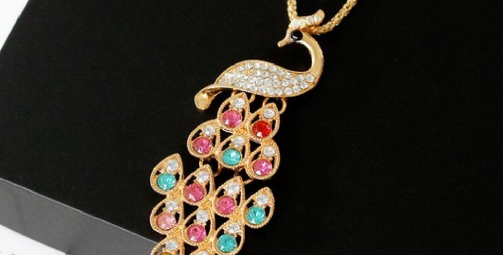 Crystal Peacock Long Necklace