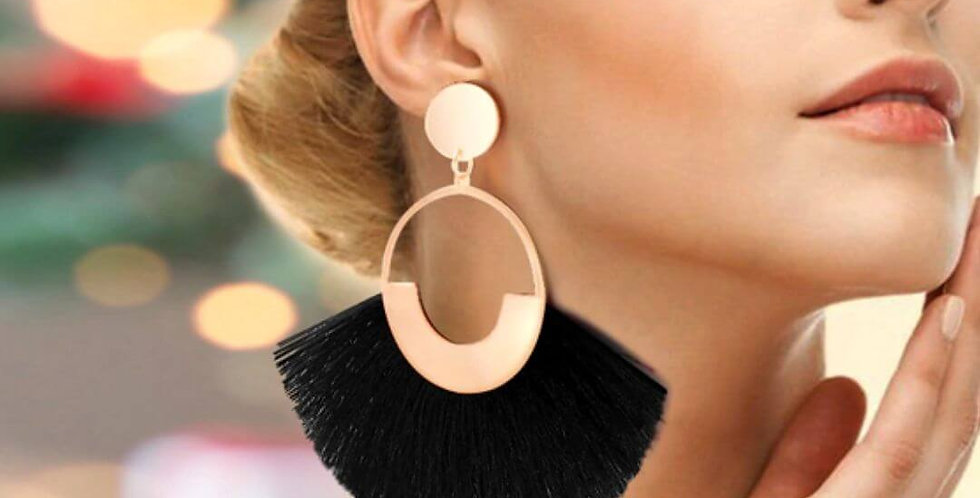 Bohemian Big Tassel Drop Black Earrings