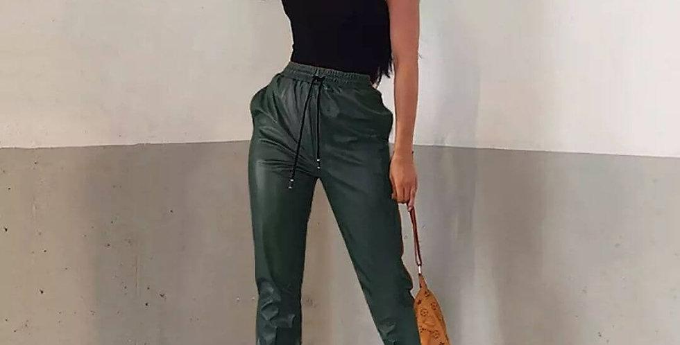 PU Leather High Waist Elastic Leather Pant